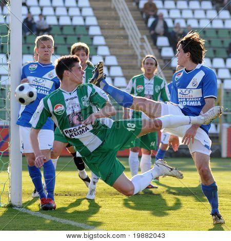 KAPOSVAR, HUNGARY - APRIL 17: Balazs (18) in action at a Hungarian National Championship soccer game Kaposvar vs MTK Budapest April 17, 2010 in Kaposvar, Hungary.