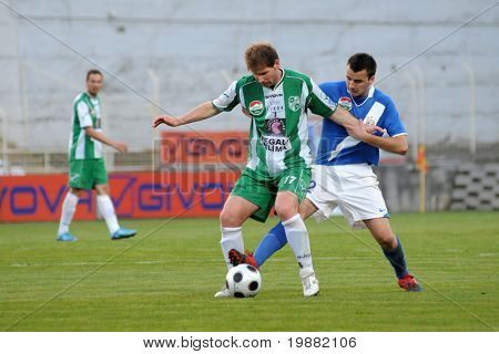 KAPOSVAR, HUNGARY - APRIL 17: Viktor Petrok (17) in action at a Hungarian National Championship soccer game Kaposvar vs MTK Budapest April 17, 2010 in Kaposvar, Hungary.