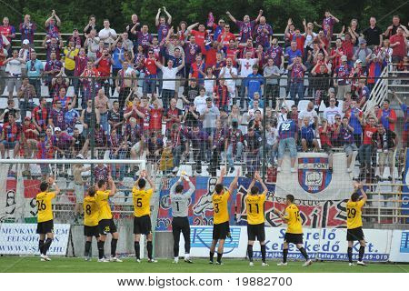 KAPOSVAR, HUNGARY - MAY 1: Videoton players celebrate the win at a Hungarian National Championship soccer game Kaposvar vs. Videoton May 1, 2010 in Kaposvar, Hungary.