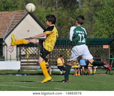 KAPOSVAR, Hungría - 30 de abril: Szabo (L) y Richter (R) en acción en el campeón Nacional Húngaro