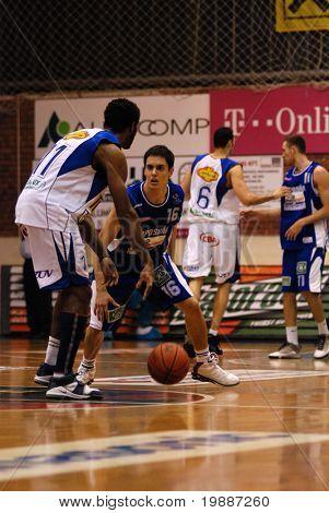 SZEKESFEHERVAR, HUNGARY - FEBRUARY 10: Kornel Kiss (16) in action at a Hugarian Champonship basketball game Albacomp vs. Kaposvar February 10, 2007 in Szekesfehervar, Hungary.