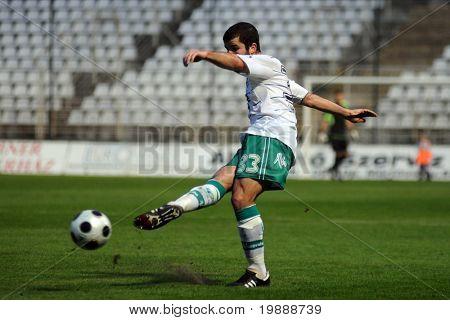 KAPOSVAR, HUNGARY - MAY 9: Pedro Sass (33) in action at a Hungarian National Championship soccer game Kaposvar vs Kecskemet May 9, 2009 in Kaposvar, Hungary.