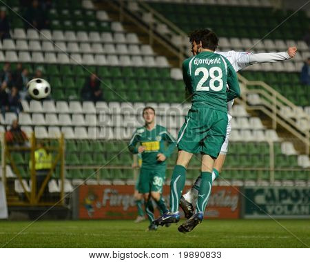 KAPOSVAR, HUNGARY - NOVEMBER 19: Djordjevic (28) in action at a Hungarian National Championship soccer game Kaposvar vs Gyori ETO November 19, 2010 in Kaposvar, Hungary.