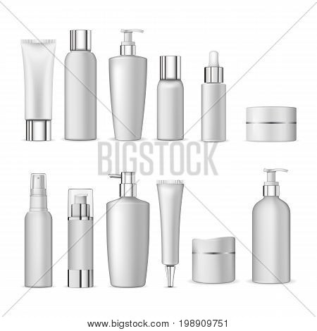 poster of 3d white realistic cosmetic package icon set empty tubes on white background vector illustration. Realistic cosmetic bottle mock up set isolated pack on white background. Cosmetic brand template.