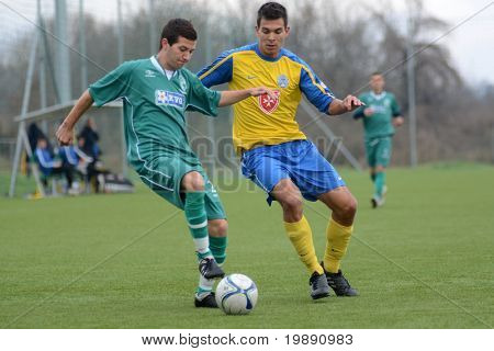 KAPOSVAR, HUNGARY - NOVEMBER 20: Tibor Toth (R) in action at the Hungarian National Championship under 19 game between Kaposvari Rakoczi and Puskas Academy November 20, 2010 in Kaposvar, Hungary.