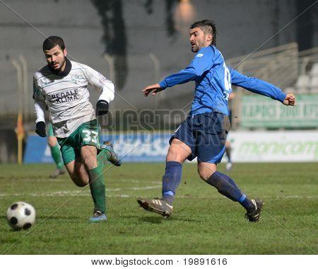 KAPOSVAR, HUNGARY - NOVEMBER 27: Pedro Sass (L) in action a Hungarian National Championship soccer game Kaposvar vs Zalaegerszeg November 27, 2010 in Kaposvar, Hungary.