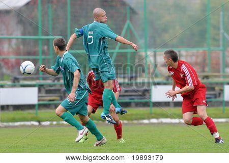 KAPOSVAR, HUNGARY - OCTOBER 16: Attila Kiss (5) in action at the Hungarian National Championship under 19 game between Kaposvar and Debrecen October 16, 2010 in Kaposvar, Hungary.