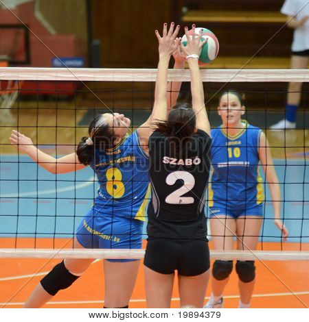 KAPOSVAR, HUNGARY - JANUARY 23: Barbara Balajcza (8) in action at the Hungarian NB I. League woman volleyball game Kaposvar vs Miskolc, January 23, 2011 in Kaposvar, Hungary.