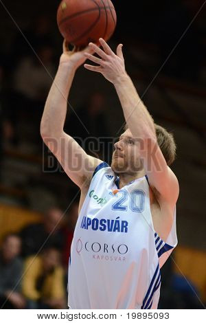 KAPOSVAR, HUNGARY - JANUARY 26: Joshua Wilson in action at a Hugarian Cup basketball game Kaposvar vs. Szeged January 26, 2011 in Kaposvar, Hungary.