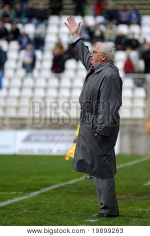 KAPOSVAR, HUNGARY - APRIL 16: Jozsef Garami (MTK trainer) in action at a Hungarian National Championship soccer game - Kaposvar vs MTK Budapest on April 16, 2011 in Kaposvar, Hungary.