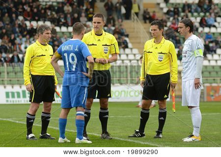 KAPOSVAR, HUNGARY - APRIL 16: Sandor Ando-Szabo (3 rd from L) in action at a Hungarian National Championship soccer game - Kaposvar vs MTK Budapest on April 16, 2011 in Kaposvar, Hungary.