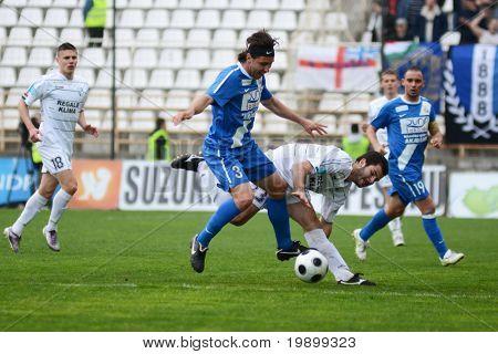 KAPOSVAR, HUNGARY - APRIL 16: Sandor Hajdu (3) in action at a Hungarian National Championship soccer game - Kaposvar vs MTK Budapest on April 16, 2011 in Kaposvar, Hungary.