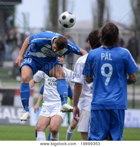 KAPOSVAR, HUNGARY - APRIL 16: Patrik Tischler (30) in action at a Hungarian National Championship soccer game - Kaposvar vs MTK Budapest on April 16, 2011 in Kaposvar, Hungary.