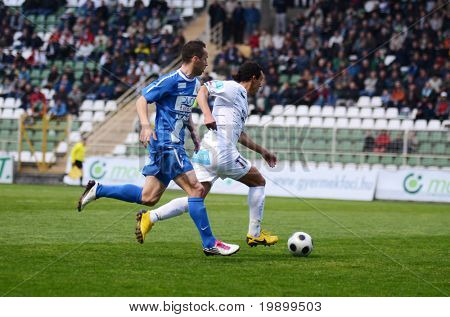 KAPOSVAR, HUNGARY - APRIL 16: Jawad Daniane (R) in action at a Hungarian National Championship soccer game - Kaposvar vs MTK Budapest on April 16, 2011 in Kaposvar, Hungary.
