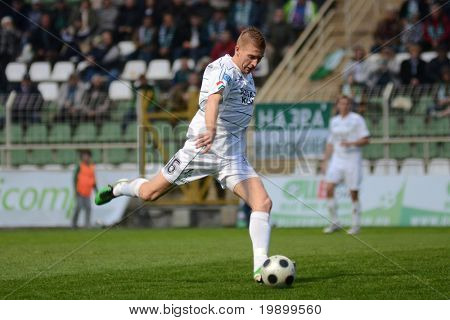 KAPOSVAR, HUNGARY - APRIL 16: Peter Mate in action at a Hungarian National Championship soccer game - Kaposvar vs MTK Budapest on April 16, 2011 in Kaposvar, Hungary.