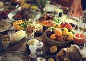 Roasted Beef Food Thanksgiving Table Setting Concept poster