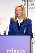 NEW YORK - APRIL 21 : Actress Uma Thurman gives a speech at Tribeca Film Festival opening April 21,