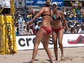 HERMOSA BEACH, CA. - AUGUST 8: Jen Kessy and April Ross vs. Nicole Branagh  (L) and Elaine Youngs (R
