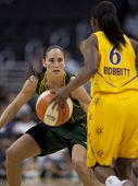 LOS ANGELES, CA. - SEPTEMBER 16: Sue Bird playing defense against Shannon Bobbitt during the WNBA pl