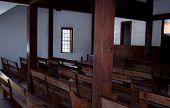 image of pews  - rural church pews   - JPG