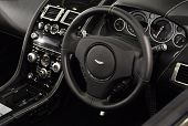LONDON, UK - NOVEMBER 7: Interior of an Aston Martin DB9 Volante at the MPH motorshow, November 7, 2