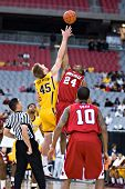 GLENDALE, AZ - DECEMBER 20: Minnesota?s Colton Iverson #45 faces Louisville?s Samardo Samuels #24 at
