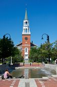 pic of burlington  - Typical New England church taken against a brilliant blue background - JPG