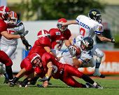 WOLFSBERG, AUSTRIA - AUGUST 18 American Football B-EC: RB Martin Dlouhy (#40, Czech) and his team be