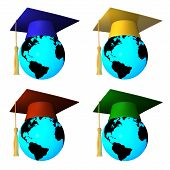 Globes With Graduation Cap
