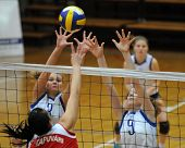 KAPOSVAR, HUNGARY - FEBRUARY 4: Gabriella Serak (3) and Rebeka Rak (9)blocks the ball in the Hungari