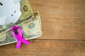 High angle view of paper currency and pink Breast Cancer Awareness ribbon by piggybank on wooden tab poster