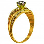 Gold ring engagement with diamond gem. luxury jewellery bijouterie with gemstone for people in love  poster
