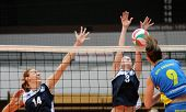 KAPOSVAR, HUNGARY - OCTOBER 31: Rebeka Rak (R) in action at the Hungarian NB I. League woman volleyb
