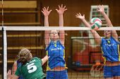 KAPOSVAR, HUNGARY - NOVEMBER 14: Barbara Balajcza (R) blocks the ball at the Hungarian NB I. League
