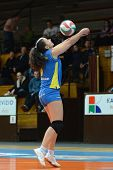KAPOSVAR, HUNGARY - DECEMBER 12: Barbara Balajcza in action at the Hungarian NB I. League woman voll