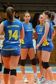 KAPOSVAR, HUNGARY - DECEMBER 19: Kaposvar players celebrate at the Hungarian NB I. League woman voll