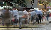 stock photo of hustle  - Crosswalk with busy people in Hong Kong Times Square - JPG