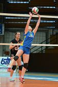 KAPOSVAR, HUNGARY - JANUARY 23: Marianna Palfy (11) posts the ball at the Hungarian NB I. League wom