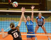 KAPOSVAR, HUNGARY - JANUARY 23: Barbara Balajcza (C) blocks the ball at the Hungarian NB I. League w