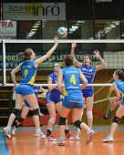 KAPOSVAR, HUNGARY - FEBRUARY 13: Rebeka Rak (9) in action at the Hungarian NB I. League woman's voll