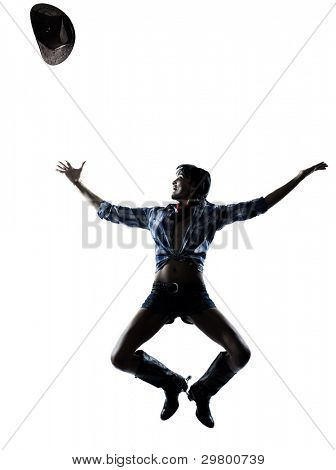 one woman cowgirl  dancer happy dancing country music in studio isolated on white background
