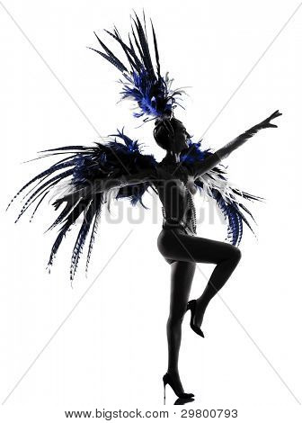 woman showgirl dancer revue dancing in studio isolated on white background