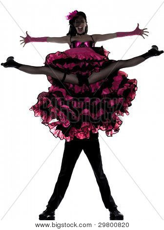 couple man woman dancer dancing french cancan in studio isolated on white background