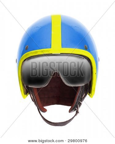 Retro pilot helmet with goggles on a white background.