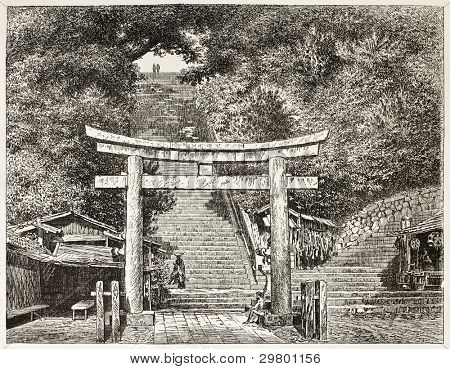 Atagosa-Yama gate old view, Japan. Created by Lancelot after photo of unknown author, published on Le Tour du Monde, Paris, 1867