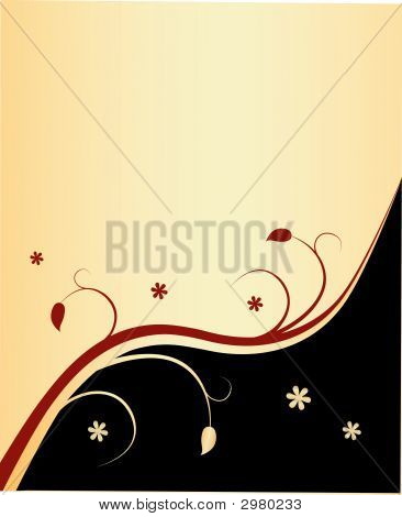 Floral Background \(Gold Black And Red\)