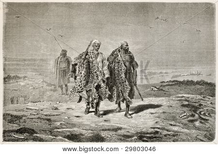 Arab pelt merchants old illustration. Created by Neuville after photo of unknown author, published on Le Tour du Monde, Paris, 1867