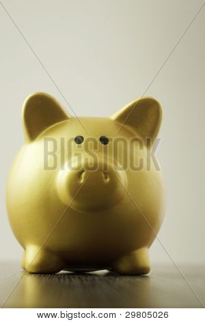 single object golden piggy bank on the table top