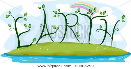 Illustration of Vines Forming the Word Earth
