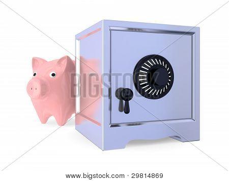 Pink piggy bamk and iron safe.
